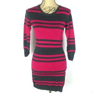 ••• French Connection • Stretch Knit Striped Dress
